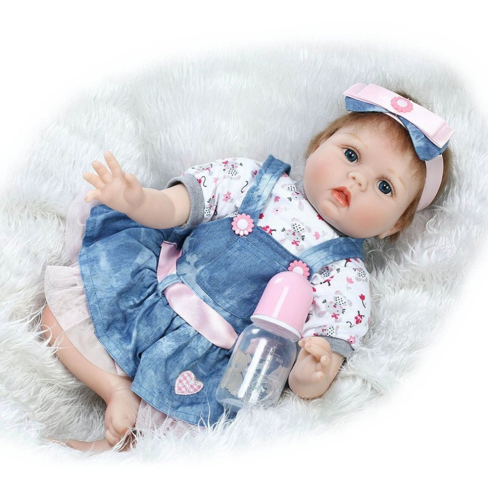 NPK 55CM Full Body Silicone Reborn Baby Doll Toys Lifelike Handmade Alive Bebe Baby Dolls Real Gentle Touch Baby Growth Partners sanydoll reborn baby dolls cute suit clothes gift baby growth partners magnet pacifier 22 55cm