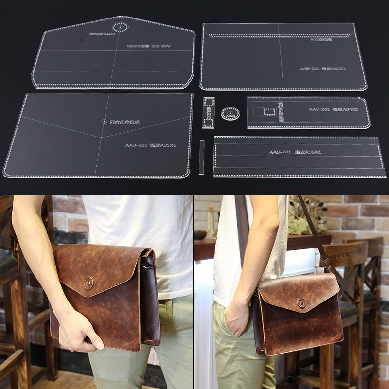 Acrylic Stencil Leather Handmade Craft Men`s Shoulder Bag Sewing Pattern Template Sewing Accessories with Holes 30x16.5x10cm