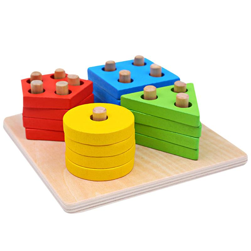 Baby Wooden Geometric Puzzle Toys Montessori Building Stacking Toys Kids Intelligence Development Educational Toy dayan gem vi cube speed puzzle magic cubes educational game toys gift for children kids grownups