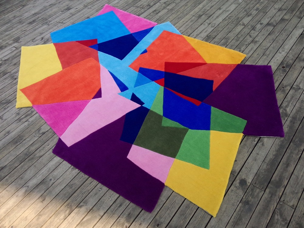 Acrylic magic carpet squares shaped gradient rugs and carpets alfombras carpets for a modern living room