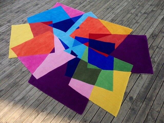 Акрил Magic Carpet квадраты в форме Градиент ковров и ковровых покрытий alfombras ковры для современной гостиной alfombras Dormitorio