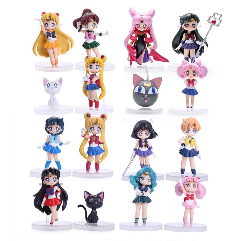 Anime Sailor Moon Figures Tsukino Usagi Sailor Mars Mercury Jupiter Venus Saturn PVC Figure Toys 16pcs