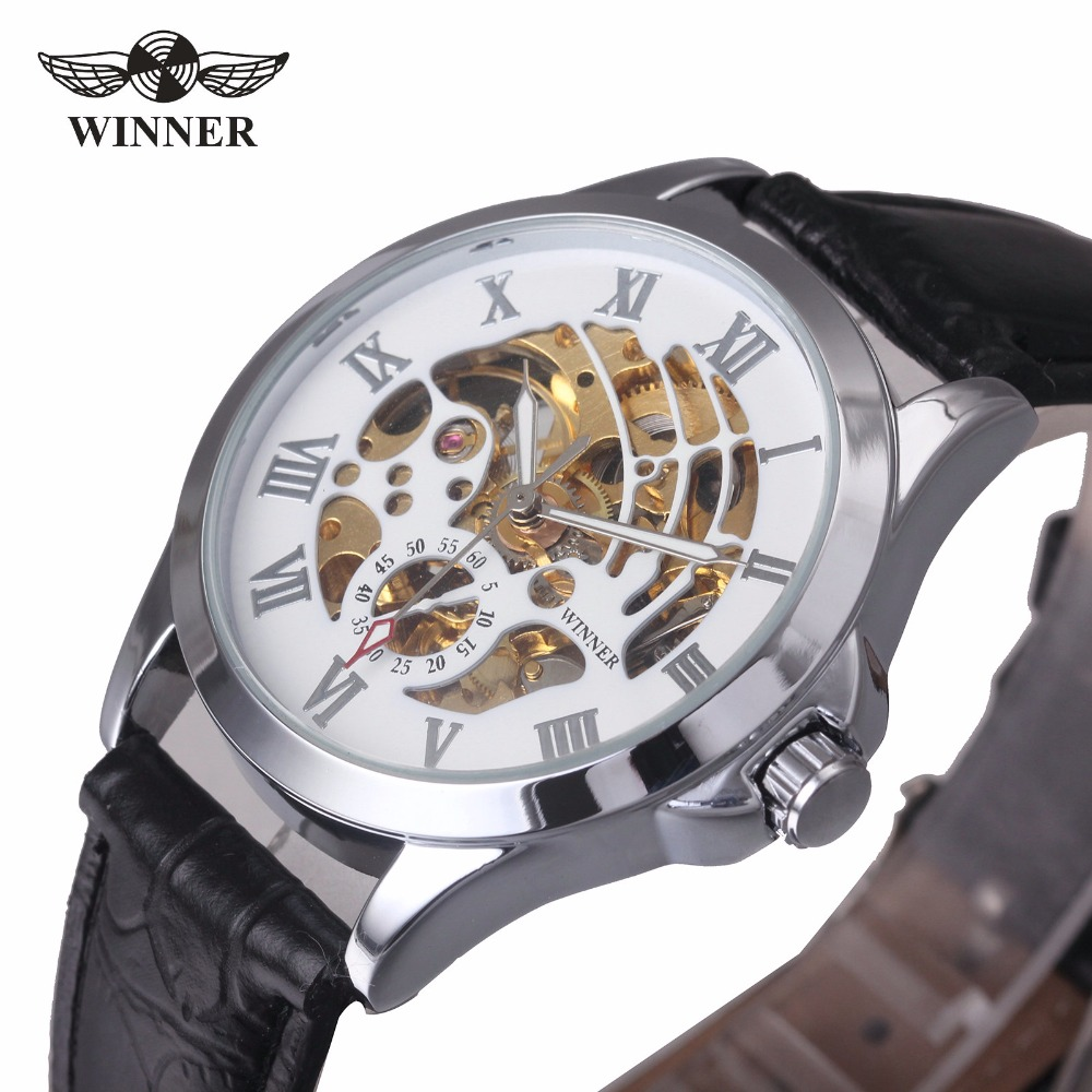 WINNER Fashion Casual Automatic Men Mechanical Watch Leather Strap Hollowed White Dial Roman Number Top Brand