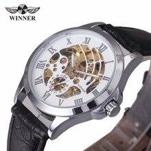 GANADOR Moda Casual Hombres Correa de Cuero Reloj Mecánico Automático Hueco Esfera Blanca Número Romano Top Brand Design Reloj