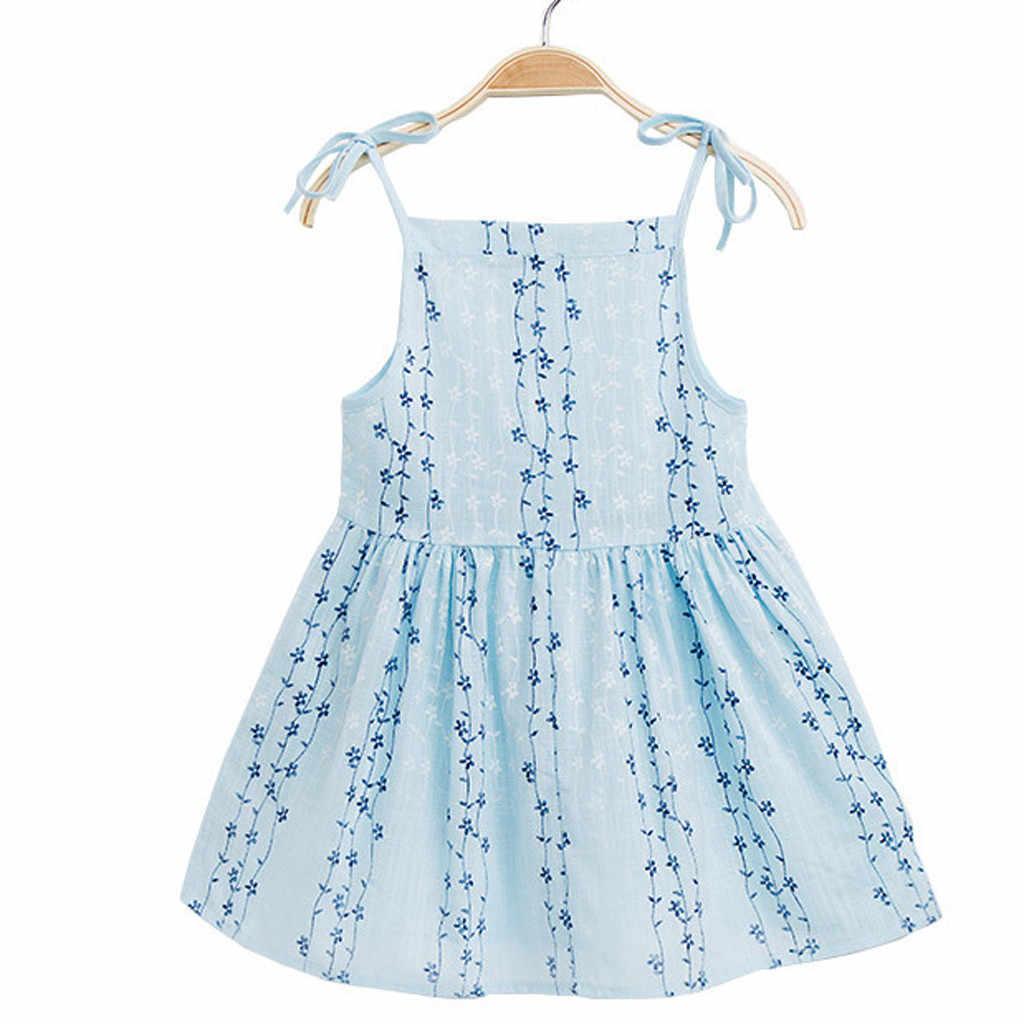 2019 ARLONEET Yeni yaz elbisesi Örgü Kız Toddler Bebek Kız Katı Çiçek Çizgili Prenses Parti Elbise Sundress Giysileri Z0205