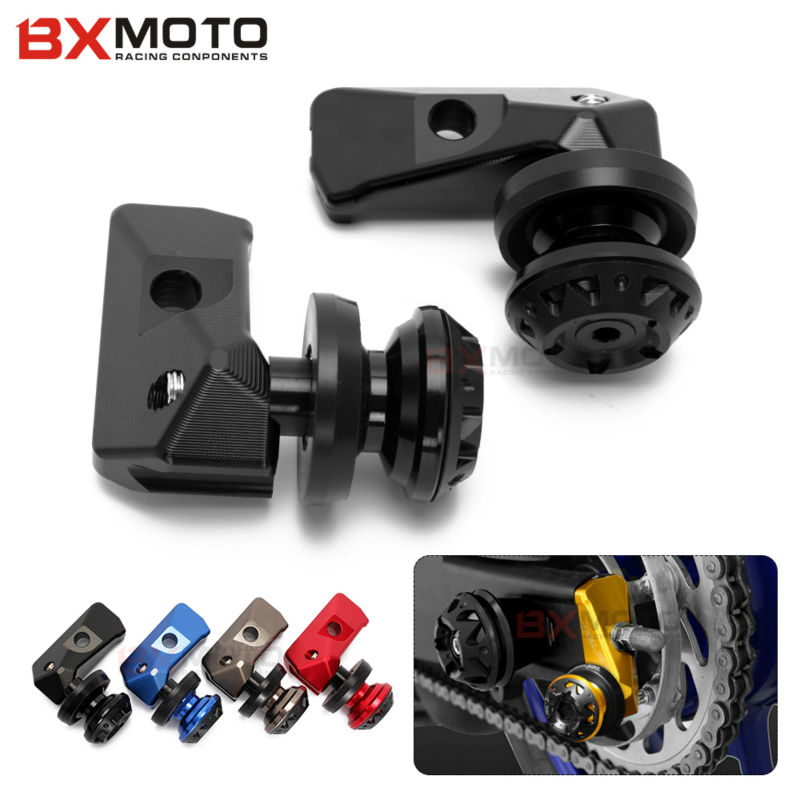 Motorcycle Cnc Rear Axle Spindle Chain Adjuster Blocks With Spool Sliders Kit For Yamaha Yzf R3 R25 Mt03 Mt25 цена и фото