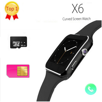 New X6 Smartphone Watch 1.54 Curved Touch Screen Smartwatch Phone Facebook SYNC MP3 Pedometer Smart Watch PK DZ09 U8 Q18S W51 meanit m5