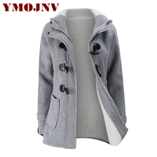 YMOJNV Winter Coat Women 2017 Fashion Wool Blends Jacket Female Faux Lambswool Lining Hooded Collar Zipper Horn button Outerwear