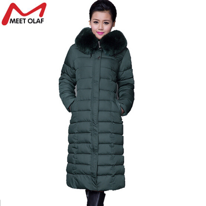 2017 Winter Jacket Coat Women 2017 Faux Fur Collar Cotton X-Long Warm Middle-aged Female Hooded Wadded Parka Plus Size 5XL YL336 xl 5xl winter coat women plus size middle aged mother cotton padded clothes casual hooded solid long sleeve parka thick a4263