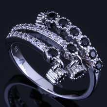 Delicate Drop Black Cubic Zirconia White CZ 925 Sterling Silver Ring For Women V0680
