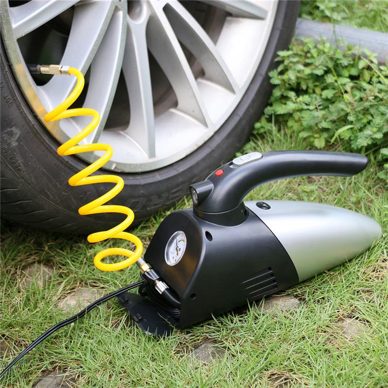 Car Vacuum Cleaner 4-in-1 Air Inflator LED Lighting Tire Pressure Gauge Portable 120W 12V With Cigarette Lighter Power Cord 2 in 1 multifunction tire inflator air compressor w vacuum cleaner yellow dc 12v