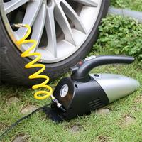 Car Vacuum Cleaner 4 in 1 Air Inflator LED Lighting Tire Pressure Gauge Portable 120W 12V With Cigarette Lighter Power Cord