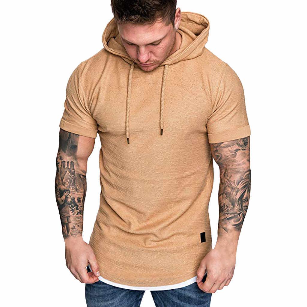 ブランドメンズ Tシャツファッションメンズスリムフィットカジュアルパターン大サイズ半袖パーカートップ camiseta masculina