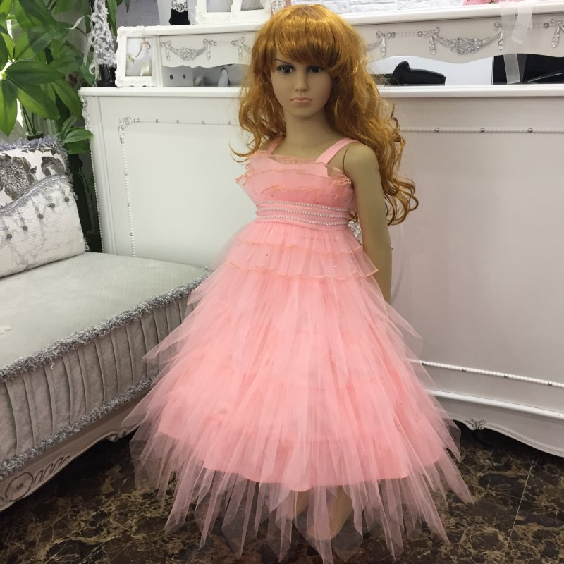 Factory Wholesale Ruffly Peach Flower Girl Dresses 2016 New Cute Girl Party Gown Children Plus size Dress For Kids 2-8 Years