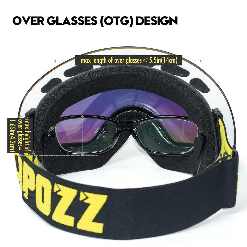 COPOZZ противотуманные лыжные очки сферические бескаркасные лыжные сноубордические снежные очки 100% защита UV400 Противоскользящий ремешок для мужчин женщин и мужчин