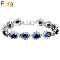 Vintage Sterling Silver Link Chain Bracelets Oval Blue Tanzanite Sapphire Fashion Jewelry For Women Christmas Gift