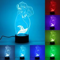 Mermaid USB Recharge 3D LED Night Light 7 Color Changing Touch Switch Table Lamp Desk Lamp