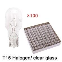 Hurtownie 100 sztuk/partia ciepły biały T15 W16W światło halogenowe 12V 15 W wnętrze światło obrysowe deski rozdzielczej samochodowych z przezroczystego szkła
