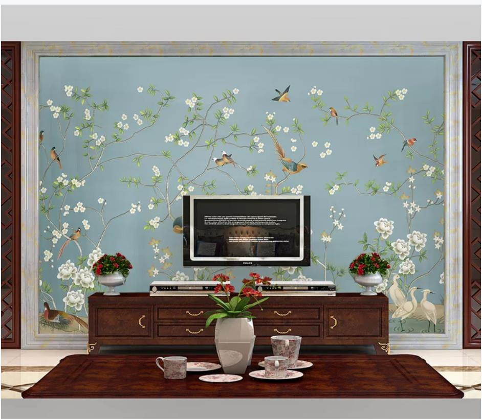 New Chinese flower and bird illustration mural 3d wallpaper 3d wall papers for tv backdropNew Chinese flower and bird illustration mural 3d wallpaper 3d wall papers for tv backdrop