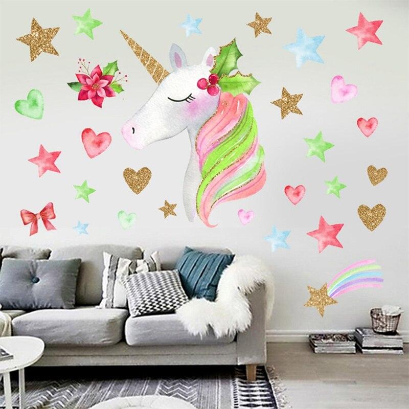 Aliexpress.com : Buy Cartoon Cute Unicorns Star Heart Wall