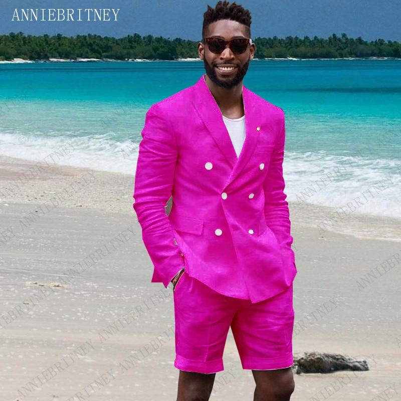 ANNIEBRITNEY Summer Linen Suit Men 2019 Man Blazer Hot Pink Slim Fit Groom Wedding Tuxedos Jacket With Short Pants Set 2 Pieces