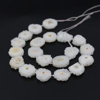 AAA Grade 15.5Strands Natural White Druzy Quartz Geode Flower Beads,Raw Crystal Drusy Slab Round Pendant Beads Jewelry Making