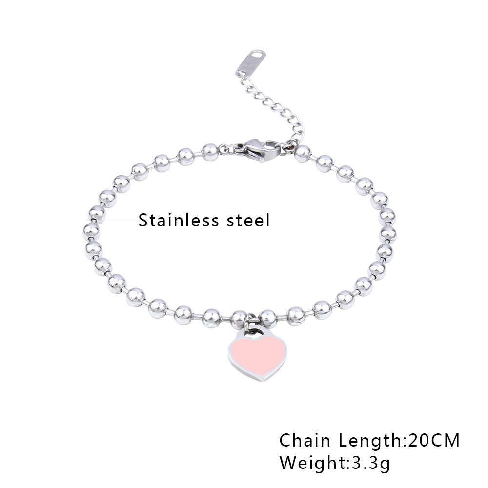 SHE WEIER  stainless steel  jewelry charms heart bracelets& bangles femme gifts for women female braclet braslet silver
