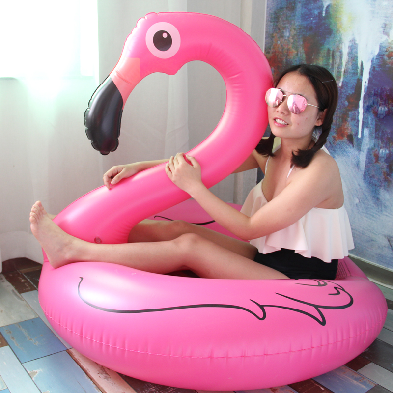 Nice 120cm High Quality Flamingo Swimming Circle Enlarged And Thickened Inflatable Life Buoy Floating Bed Convenience Goods