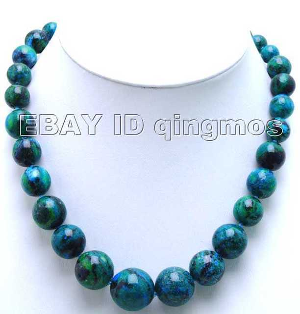 SALE Big 10-20mm perfect Round graduate chrysocolla 17 inch Necklace-nec5317 wholesale/retail Free shipping