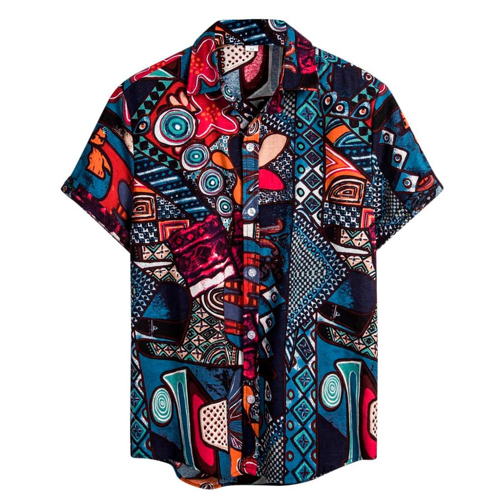 Mens Ethnic Short Sleeve Casual Cotton Linen Printing Hawaiian Shirt Blouse Couple Loose Fit Hawaii Vintage African Print