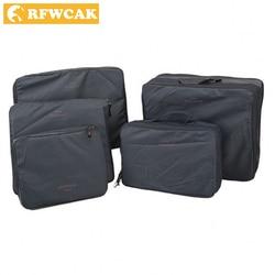 RFWCAK Multi-Functional Portable Travel Luggage Suitcase Clothes 5pcs/set Underwear Packing Cubes Organizer Storage Bag Pouch