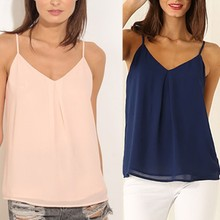 New Arrival 2016 Summer Casual Ajustable Vest Top Sexy V-Neck Sleeveless Halter Vest Back Hollow Strapless Chiffon Tank Top