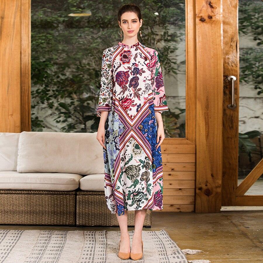 VERDEJULIAY Ethnic Vintage Dress 2019 Runway High Quality 3 4 Sleeve Loose XXL Flower Print Loose