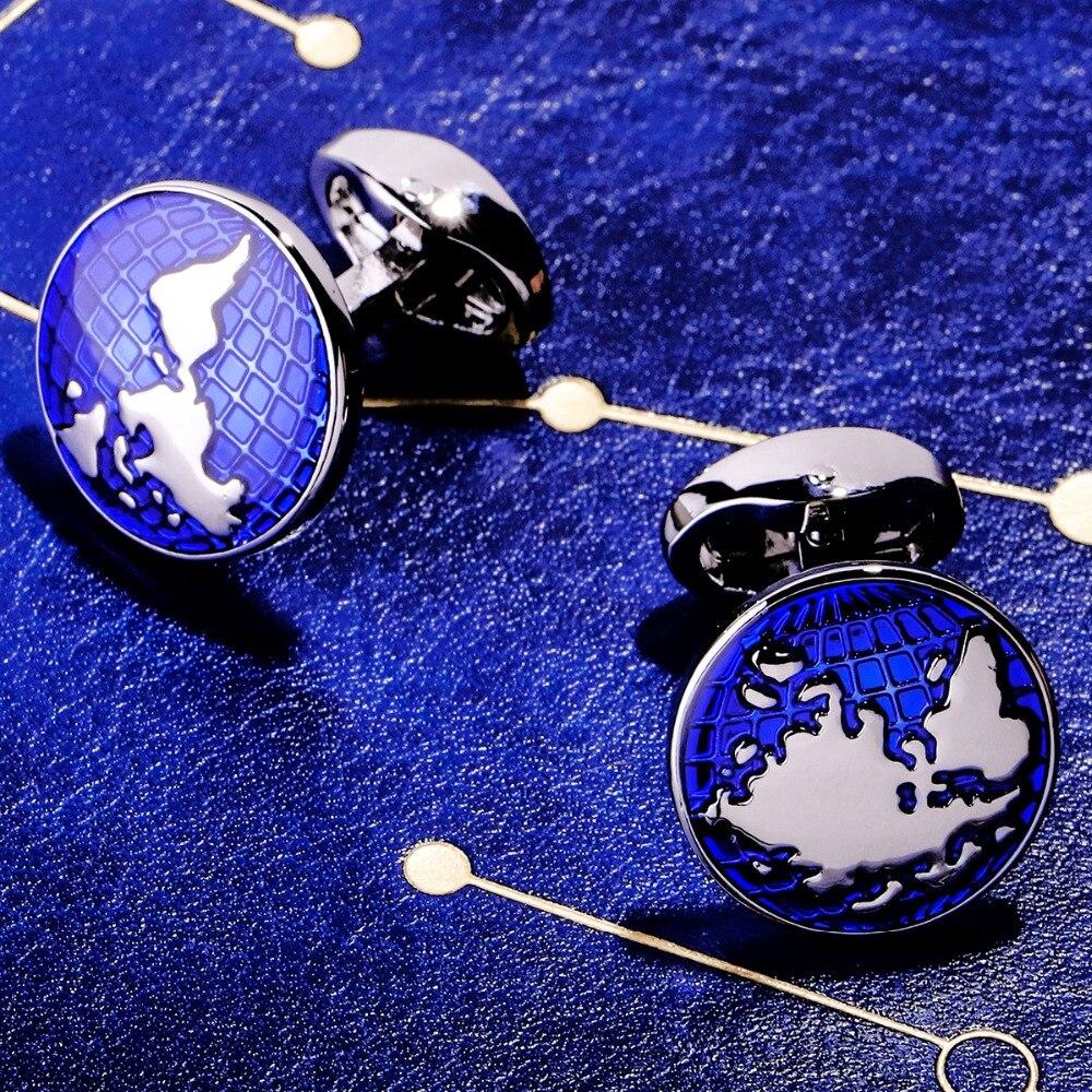 MAISHENOU Jewelry Brand Blue Fashion Cuffs links Buttons High Quality shirts World Map cufflinks for mens Wedding Free Shipping maishenou shirt luxury cufflinks for mens brand wedding gift cuffs button with crystal cuff links high quality free shipping
