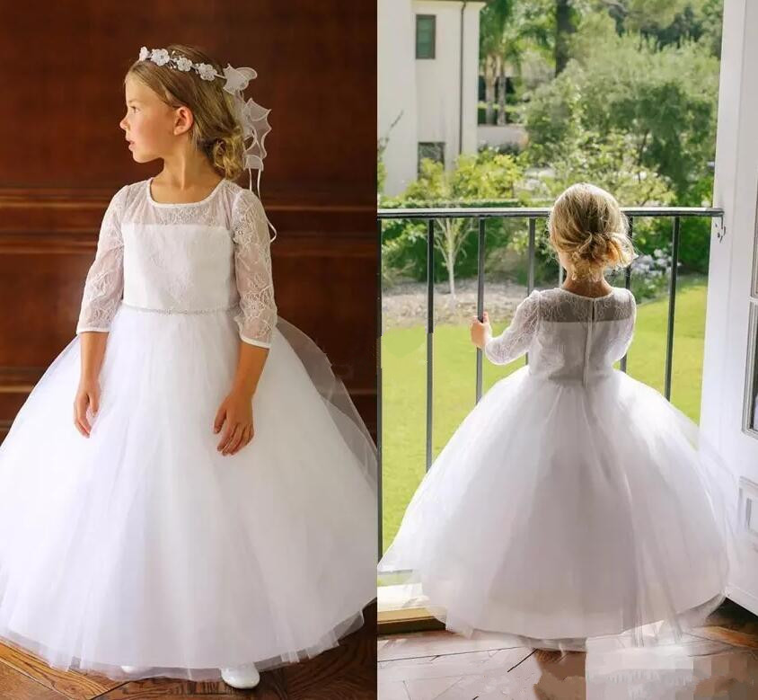 Lovely Ball Gown Flower Girl Dresses for Wedding Lace Sleeves Crew Neck 2017 Custom Made First Communion Dress