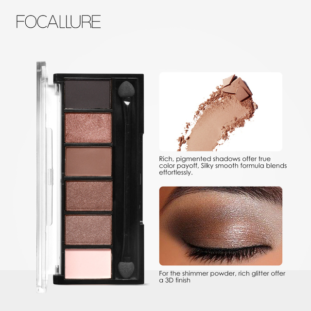 FOCALLURE 6 Colors Eyeshadow Palette Glamorous Smokey Color Eye Shadow Shimmer Glitter Smooth Creamy Powder Makeup Eye Shadow 4