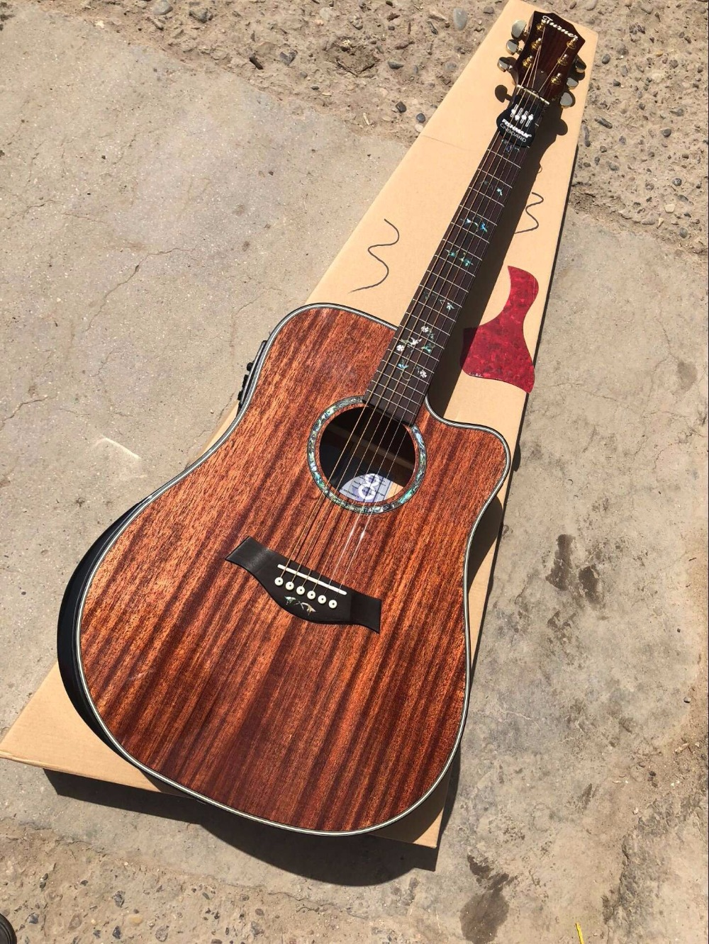 free shipping Byron music CUSTOM acoustic guitar Cutaway 41 inches mahogany customize electric acoustic guitar in stock 2018 china factory hot 41 guitar pickguard hummingbird acoustic guitar pickguard 2mm thickness free shipping