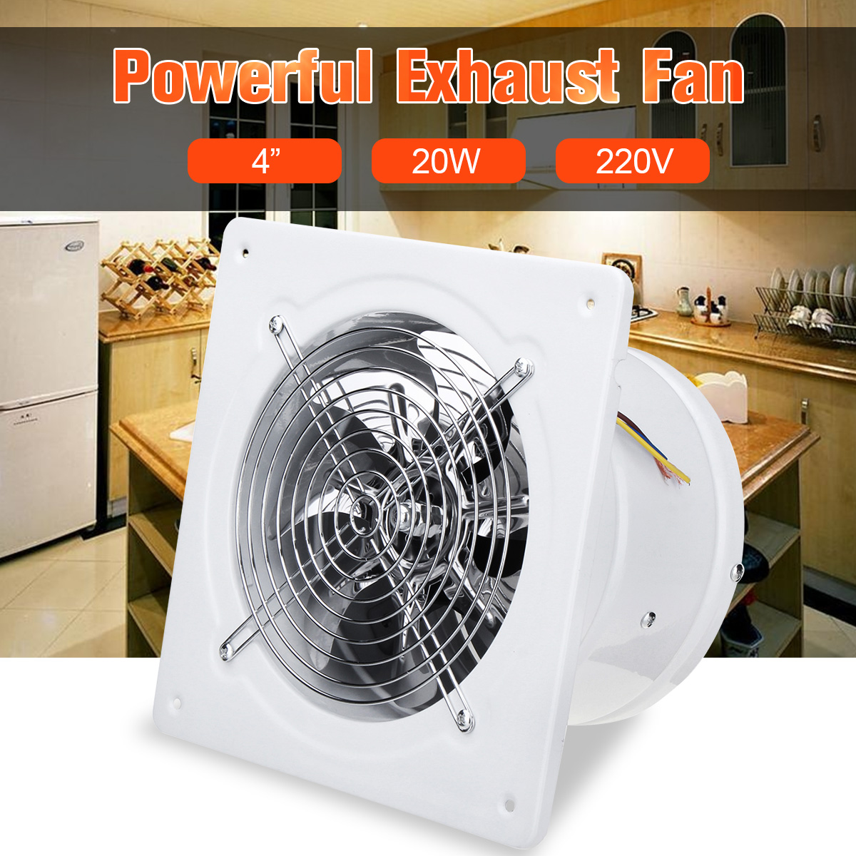 4 Inch 20w 220v High Speed Exhaust Fan Toilet Kitchen Bathroom Hanging Wall Window Glass Small Ventilator Extractor Exhaust Fans wall hanging window forest path tapestry