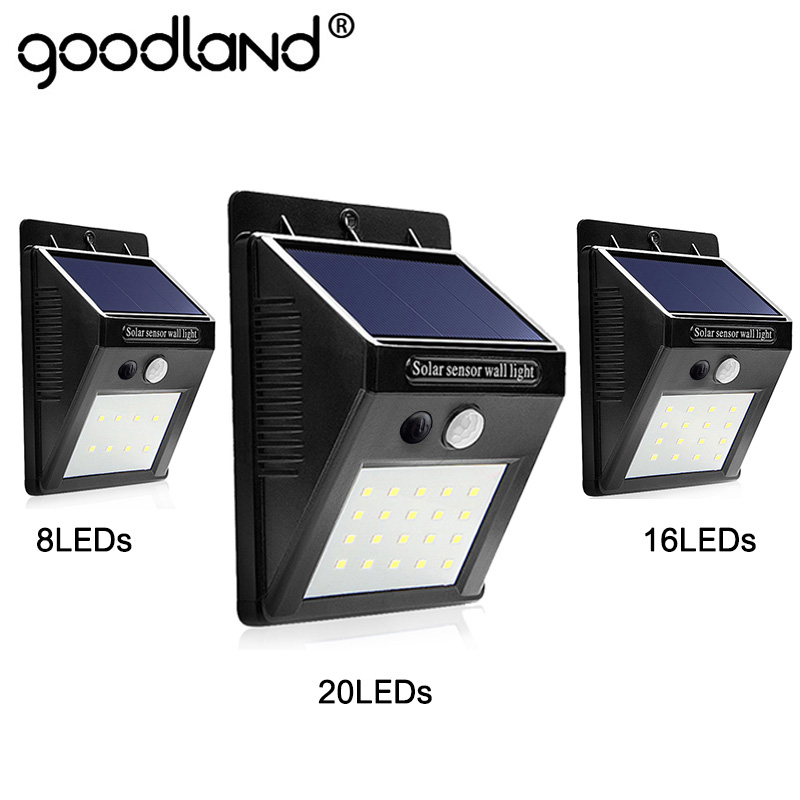 Goodland LED lumière solaire extérieure lampe solaire avec capteur de mouvement PIR solaire alimenté étanche pour la décoration de jardin chemin de cour