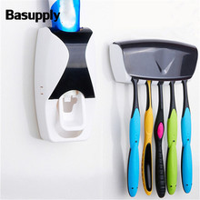 Basupply 1 Set Automatic Toothpaste Dispenser 5 Position Toothbrush Holder Squeezer Bathroom Accessories Sets Dropshipping