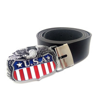 American Flag Eagle PU leather belt men Cowboy belts for jeans Mens big buckles belt Plus Size cinturon piel hombre
