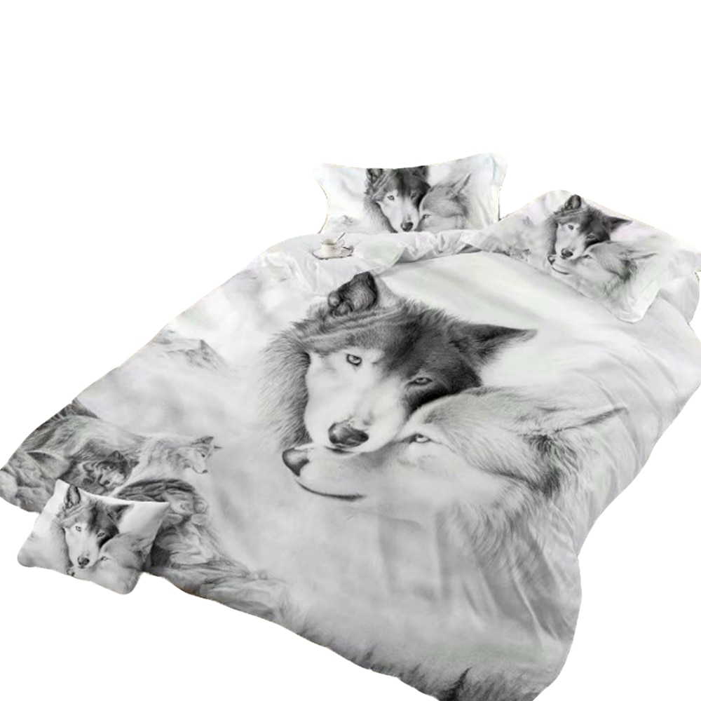 Urijk Wolf Printed Bedding Set Reactive  Fashion Luxury Home Textile Duvet Cover Bed Sheet Soft Comfortable 234pcs Christmas