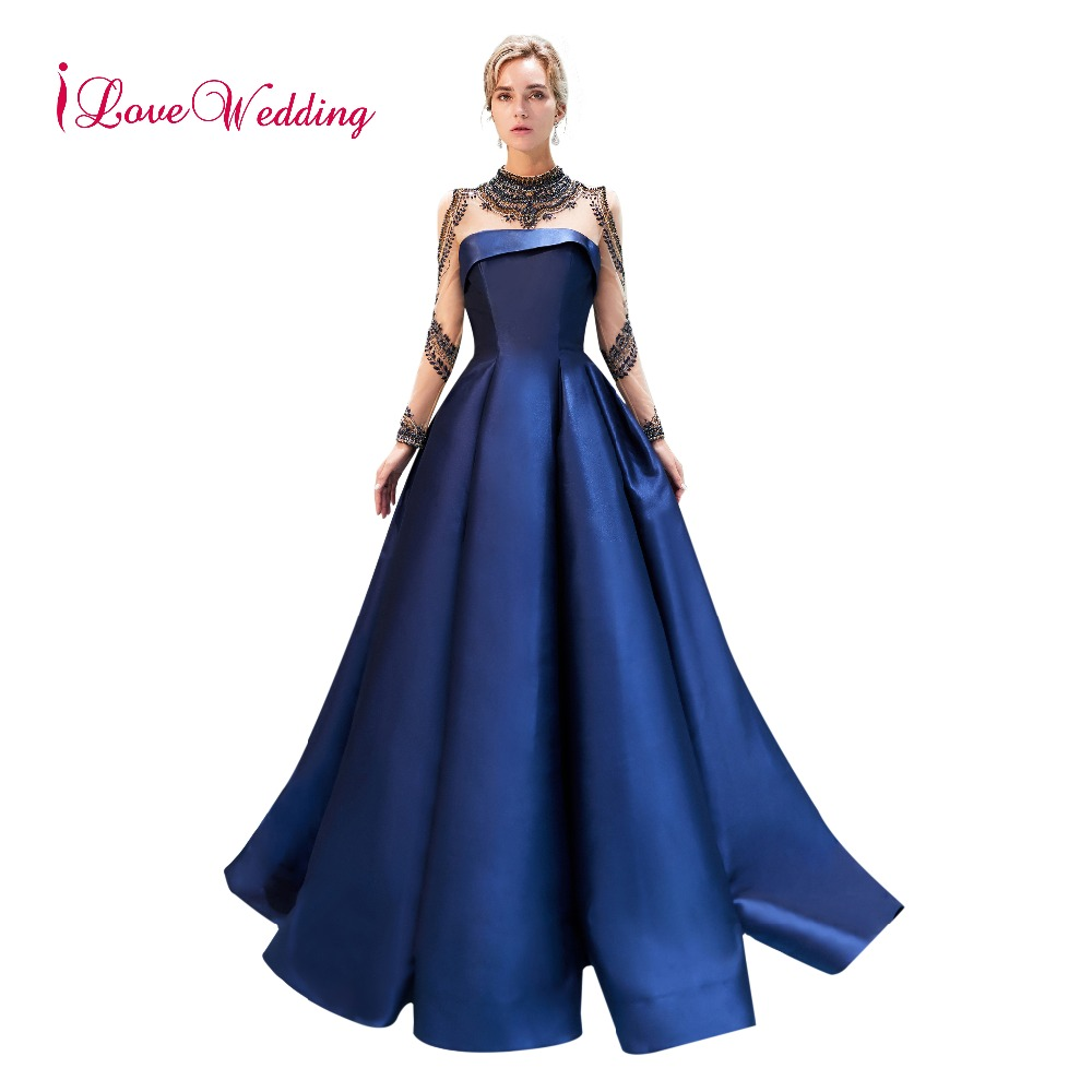 iLoveWedding New Arrival High Collar Delicate Beaded Navy Blue Satin ...