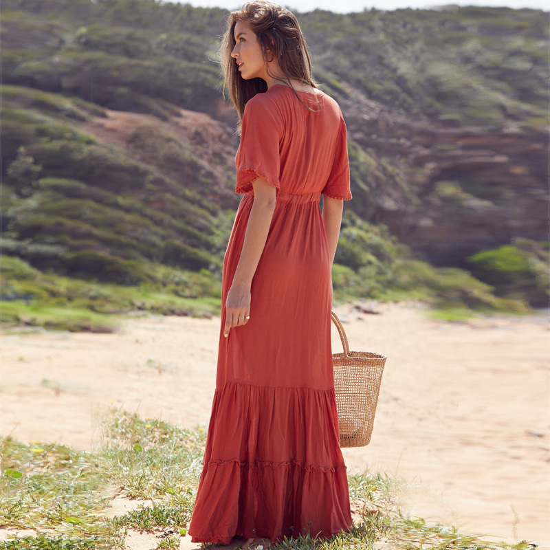 Summer Women Bohemian Dress Long Sexy V Neck Ruffles Short Sleeve Dresses Lace Up Red Beach Dress Holiday Elegant Dress in Dresses from Women 39 s Clothing
