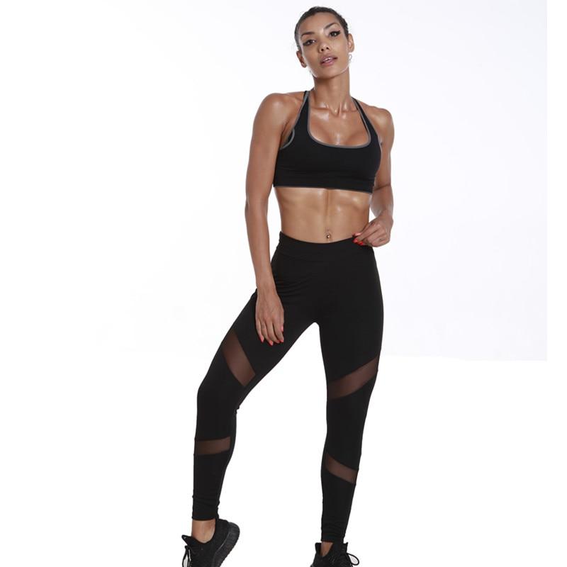 Leggings ladies 2018 High waist fork mesh stitching Sexy Women Leggings Gothic Insert Mesh Design Trousers Pants Big Size Black