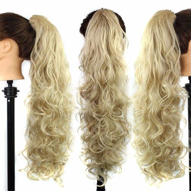 """Цвет # # T16/613 31 """"Длинный Коготь Клип Шнурок Хвост Поддельные Волос Ложным Конского Волоса Коса вьющиеся Синтетические Шиньоны"""