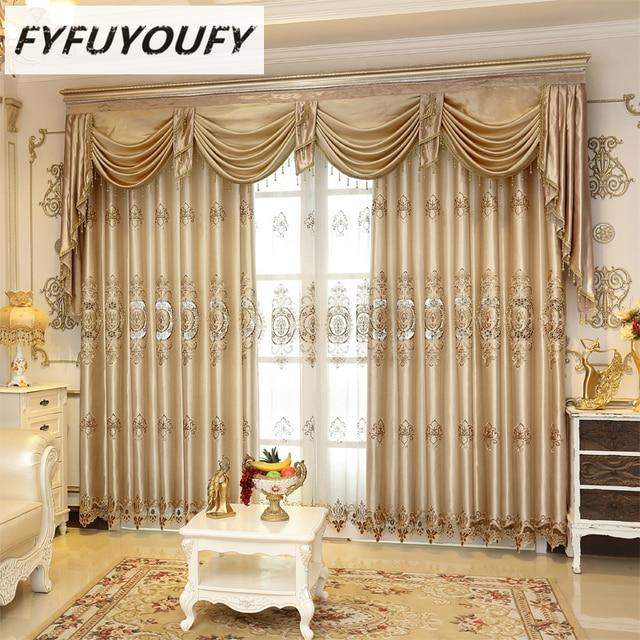 Europea de lujo elegante cortina Blackout persianas cortina de la
