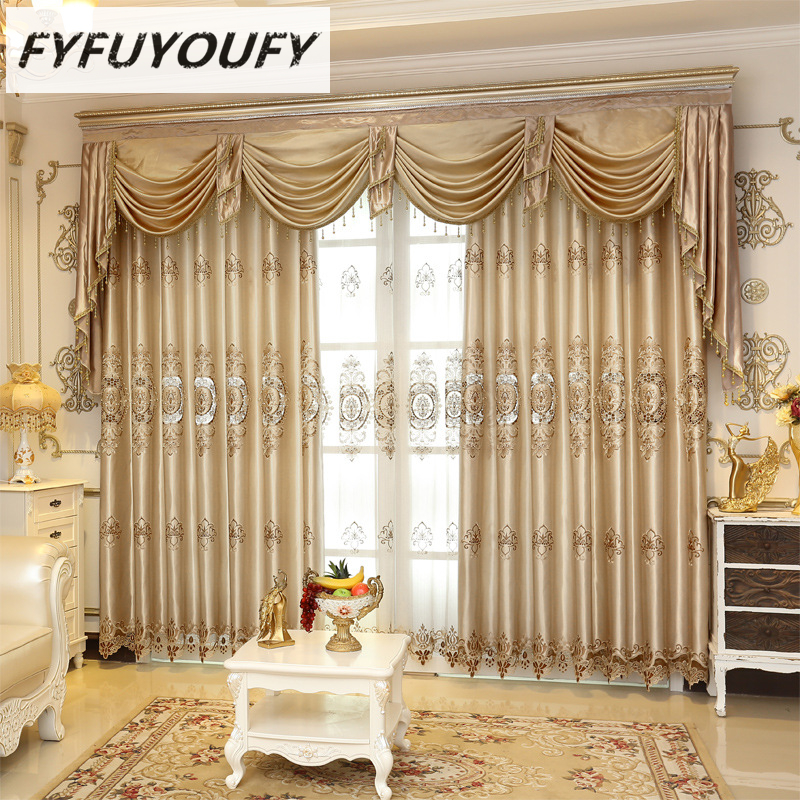 Europea Luxury Elegant Blackout Curtain Window Blinds Kitchen For Living Room Flat Windows Curtains Can