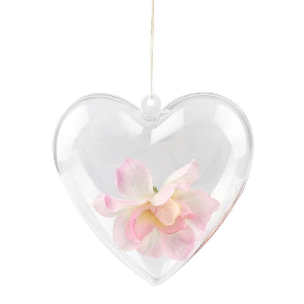 20PCS Clear Plastic Acrylic Heart Shape Fillable Christmas Tree Ornaments DIY Bath Bomb Molds Hearts Shape Ball Craft Ornament