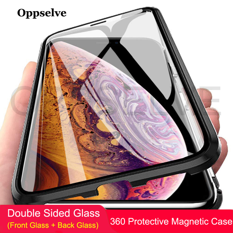 Oppselve Magnetic Case For iPhone XR XS MAX X 8 7 6 6S Plus 8Plus Double Sided Glass Metal Tempered Glass Magnet Cover Capinhas smartphone